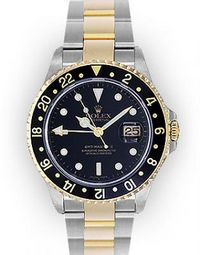 Men's Two Tone Black Dial Rotating Bezel Rolex GMT Master II (251)