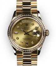 Men's Champagne Dial Channel Set Bezel Rolex Day Date President (103)