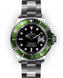 Men's Stainless Steel Black Dial Green Bezel Rolex Submariner (1275)