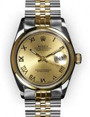 Men's Two Tone Champagne Roman Dial Smooth Bezel Rolex Datejust (188)