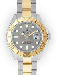 Men's Two Tone Silver Dial Rotating Bezel Rolex Yacht-Master (263)